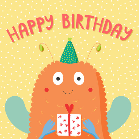 Hand drawn birthday card with cute funny monster in a party hat, holding a present, with text. Vector illustration. Isolated objects. Design concept for children, birthday celebration.