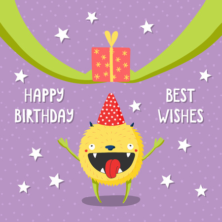 Hand drawn birthday card with cute funny monster in a party hat, receiving a present, with typography. Vector illustration. Isolated objects. Design concept for children, birthday celebration.