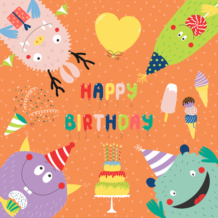 Hand drawn birthday card with cute funny monsters in party hats, looking from all sides, with cake, typography. Vector illustration. Isolated objects. Design concept for children, birthday celebration Vectores