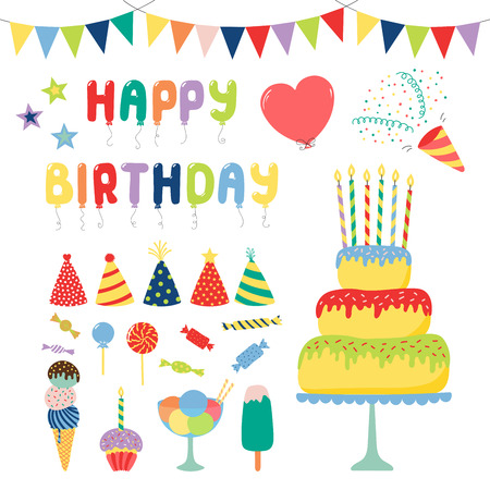 Collection of hand drawn birthday party design elements with cake, balloons, hats, bunting, ice cream, typography. Isolated objects on white background. Vector illustration. Design concept for kids. Stock Vector - 93532983