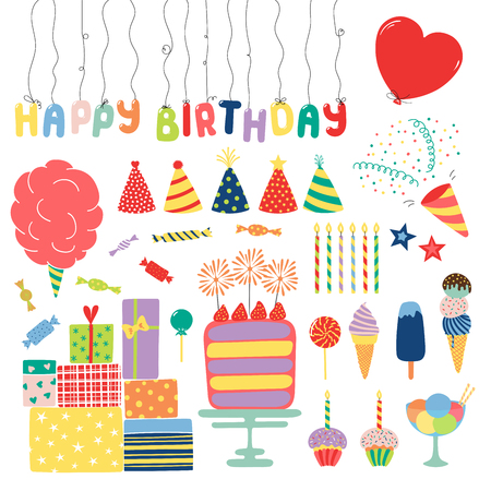 Collection of hand drawn birthday party design elements with cake, candles, balloons, hats, ice cream, presents, candy, text. Isolated objects on white. Vector illustration. Design concept for kids.