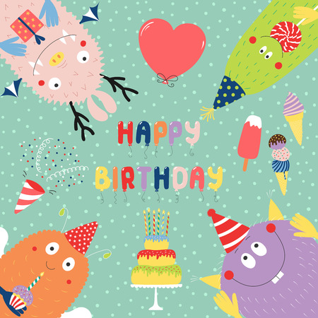 Hand drawn birthday card with cute funny monsters in party hats, looking from all sides, with cake, typography. Vector illustration. Isolated objects. Design concept for children, birthday celebration Ilustração