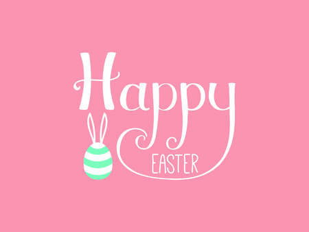 Hand written Happy Easter lettering with cute cartoon egg with rabbit ears. Isolated objects on pink. Vector illustration Festive design elements. Concept for greeting card, invitation. Illustration