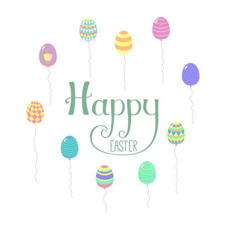 Hand drawn cartoon egg shaped flying balloons, with Happy Easter lettering. Isolated objects on white. Vector illustration. Festive design elements. Concept for greeting card, invitation.
