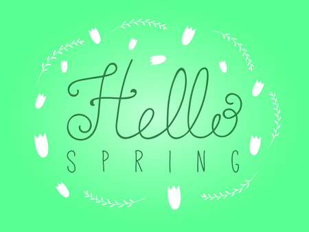 Hand written Hello Spring lettering with cartoon grass and tulip flowers. Isolated objects on white. Vector illustration. Design concept for change of seasons.