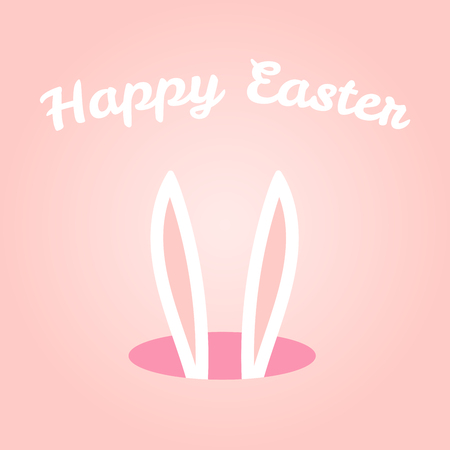 Hand drawn vector illustration with cute bunny ears sticking from a hole, with Happy Easter text. Isolated objects. Vector illustration. Festive design elements. Concept for greeting card, invitation.