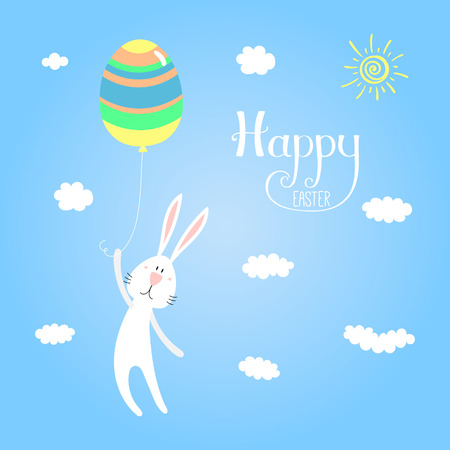 Hand drawn vector illustration of cute cartoon bunny flying on egg shaped balloon, Happy Easter lettering. Isolated objects. Vector illustration. Festive design elements. Concept for card, invitation.