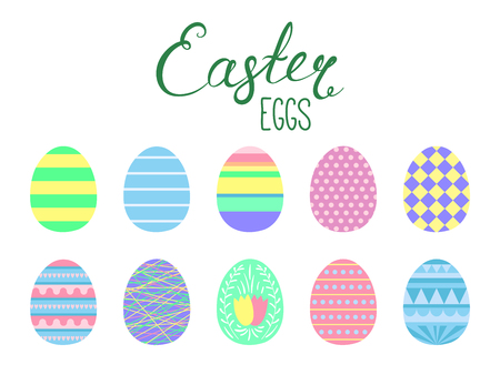 Set of flat style cute cartoon Easter eggs. Isolated objects on white. Vector illustration. Festive design elements. Concept for greeting card, invitation.