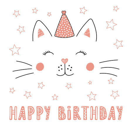 Hand drawn vector portrait of a cute funny cat in party hat, with text Happy Birthday. Isolated objects on white background. Vector illustration. Design concept for children, party, celebration, card.