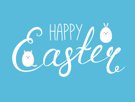 Hand written Happy Easter lettering with cute cartoon eggs - bunny rabbit and cat. Isolated objects on blue. Vector illustration. Festive design elements. Concept for greeting card, invitation.