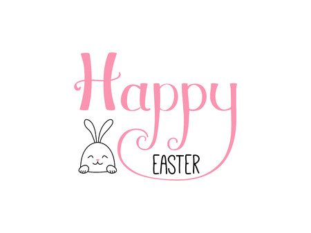 Hand written Happy Easter lettering with cute cartoon rabbit. Isolated objects on white. Vector illustration. Festive design elements. Concept for greeting card, invitation. Çizim