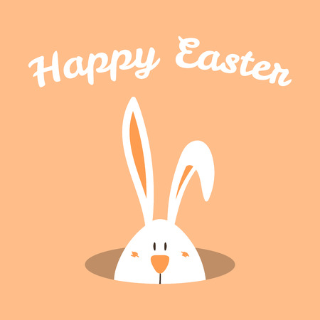 Hand drawn vector illustration with cute cartoon bunny looking from a hole, Happy Easter text. Isolated objects. Stock Illustratie