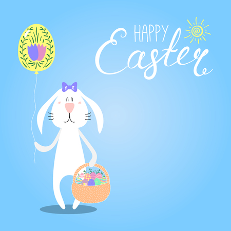 Hand drawn vector illustration with cute cartoon bunny with a basket, Happy Easter lettering. Isolated objects.