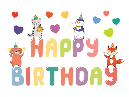 Hand drawn Happy Birthday greeting card, banner template with cute funny cartoon animals standing on letters, text.