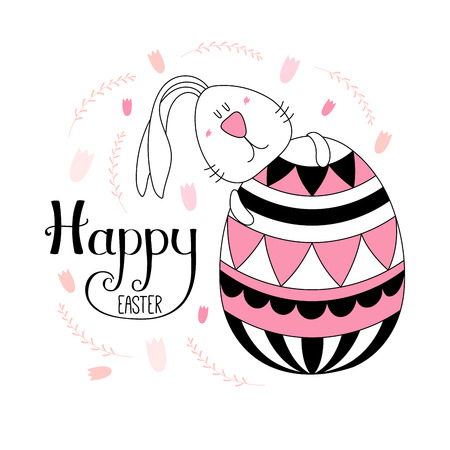 Hand drawn vector illustration with cute cartoon bunny hugging an egg, Happy Easter lettering. Isolated objects. Vector illustration. Festive design elements. Concept for greeting card, invitation.