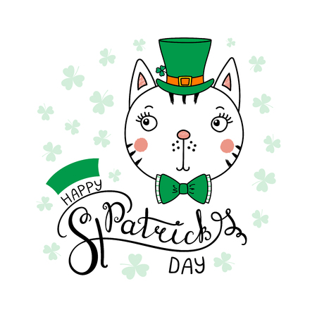 Hand drawn vector portrait of a cute funny cat in a leprechaun top hat, with text Happy Saint Patrick's day. Isolated objects on white. Vector illustration. Design concept for children, celebration. Vettoriali