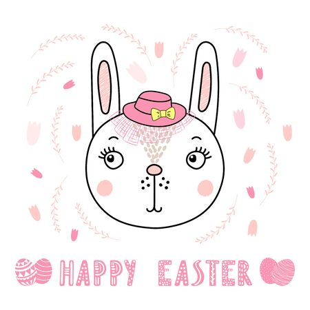 Hand drawn vector portrait of a cute funny bunny in a hat, with text Happy Easter, eggs. Isolated objects on white background. Vector illustration. Design concept for children, celebration. Illustration