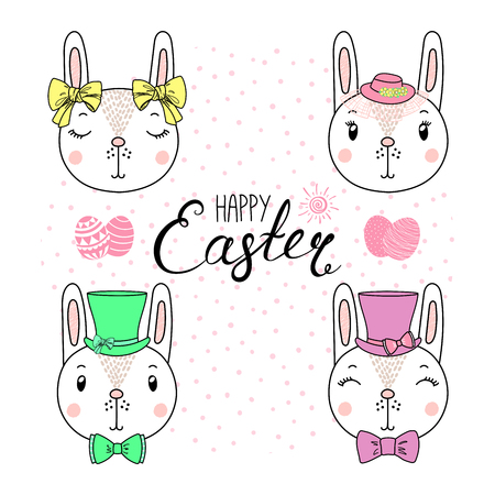 Hand drawn vector portrait of a cute funny bunnies in hats, with ribbons, text Happy Easter, eggs. Isolated objects on white background. Vector illustration. Design concept for children, celebration.