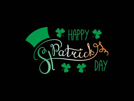 Hand written Happy Saint Patricks day lettering with cartoon shamrocks. Isolated objects on black. Иллюстрация