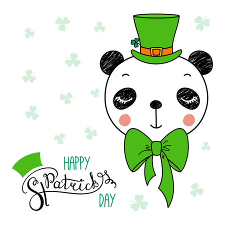 Hand drawn vector portrait of a cute funny panda in a leprechaun top hat, with text Happy Saint Patricks day. Isolated objects on white. Vector illustration. Design concept for children, celebration.