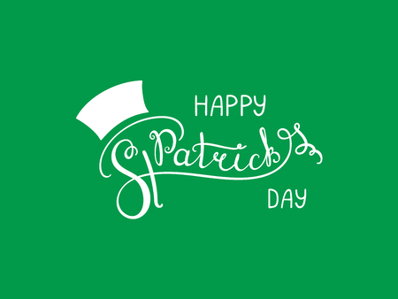Hand written Happy Saint Patricks day lettering. Isolated objects, white on green. Vector illustration. Design concept for greeting card, banner, celebration. Иллюстрация