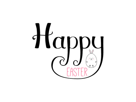 Hand written Happy Easter lettering with cute cartoon egg rabbit. Isolated objects on white. Vector illustration. Festive design elements. Concept for greeting card, invitation. Ilustração