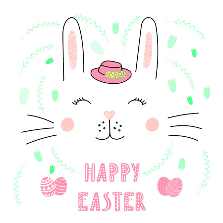 Hand drawn vector portrait of a cute funny bunny in a hat, with text Happy Easter, eggs. Isolated objects on white background. Vector illustration. Design concept for children, celebration.