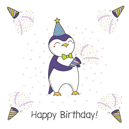 Hand drawn Happy Birthday greeting card with cute funny cartoon penguin with a party popper, typography. Isolated objects on white background. Vector illustration. Design concept for celebration.