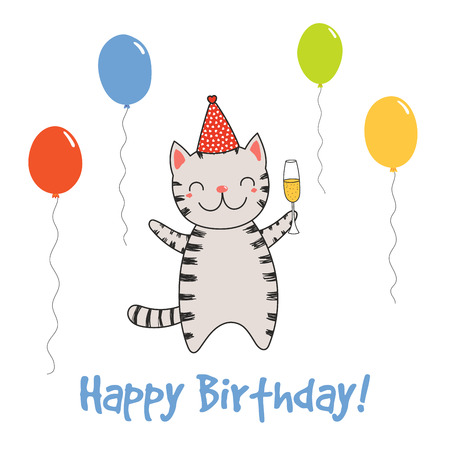 Bergeben Sie gezogene alles- Gute zum Geburtstaggrußkarte mit netter lustiger Karikaturkatze mit einem Glas Champagner, Text. Isolierte Objekte auf weißem Hintergrund. Vektor-illustration Design-Konzept für Party, Feier. Standard-Bild - 94497510