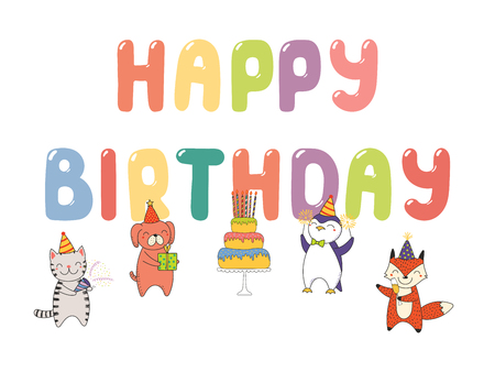 Hand drawn Happy Birthday greeting card, banner template with cute funny cartoon animals celebrating, cake, text. Isolated objects on white background. Vector illustration. Design concept for party. Vettoriali