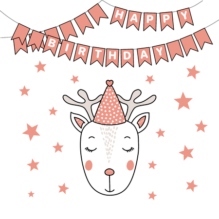 Hand drawn vector portrait of a cute funny deer in party hat, with text Happy Birthday. Isolated objects on white background. Vector illustration. Design concept for children, party, celebration, card
