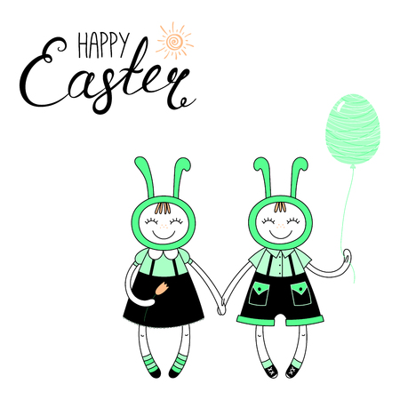 Hand drawn vector illustration of cute cartoon girl, boy in bunny costumes, with Happy Easter text. Isolated objects. Vector illustration. Festive design elements. Concept greeting card, invitation.