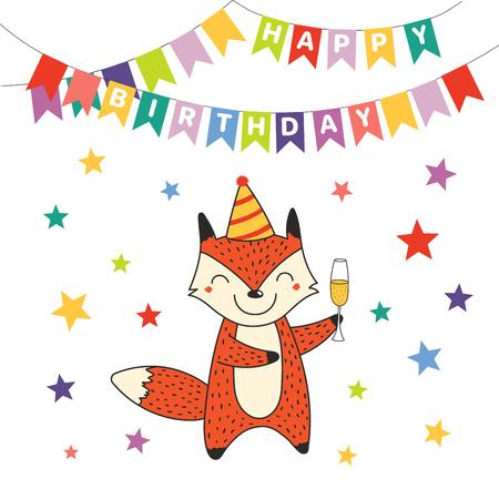 Bergeben Sie gezogene alles- Gute zum Geburtstaggrußkarte mit nettem lustigem Karikaturfuchs mit einem Glas Champagner, Text. Isolierte Objekte auf weißem Hintergrund. Vektor-illustration Design-Konzept für Party, Feier. Standard-Bild - 94699914