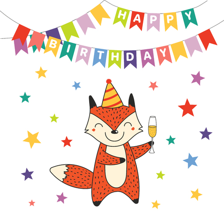 Hand drawn Happy Birthday greeting card with cute funny cartoon fox with a glass of champagne, text. Isolated objects on white background. Vector illustration. Design concept for party, celebration.