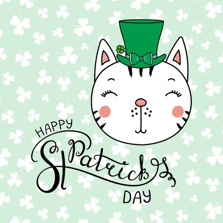 Hand drawn vector portrait of a cute funny cat in a leprechaun top hat, with text Happy Saint Patricks day. Isolated objects on white. Vector illustration. Design concept for children, celebration. Illustration
