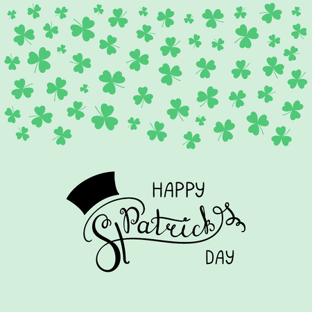 Hand written Happy Saint Patricks day lettering with horizontal border of shamrocks. Isolated objects. Vector illustration. Design concept for greeting card, banner, celebration.