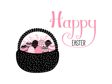 Hand written Happy Easter lettering with cute cartoon basket with eggs. Isolated objects on white. Vector illustration. Festive design elements. Concept for greeting card, invitation.