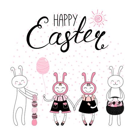 Verzameling van hand getrokken cute cartoon paashazen met eieren, mand, Happy Easter tekst. Geïsoleerde objecten. Vector illustratie Feestelijke ontwerpelementen. Concept voor wenskaart, uitnodiging. Stock Illustratie