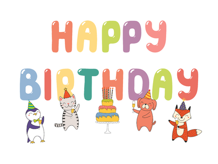 Hand drawn Happy Birthday greeting card, banner template with cute funny cartoon animals celebrating, cake, text. Isolated objects on white background. Vector illustration. Design concept for party. Illustration