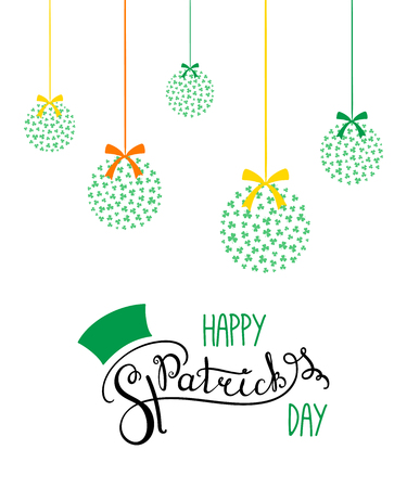Hand written Happy Saint Patricks day lettering with hanging decorations with shamrocks. Isolated objects on white. Vector illustration. Design concept for greeting card, banner, celebration.