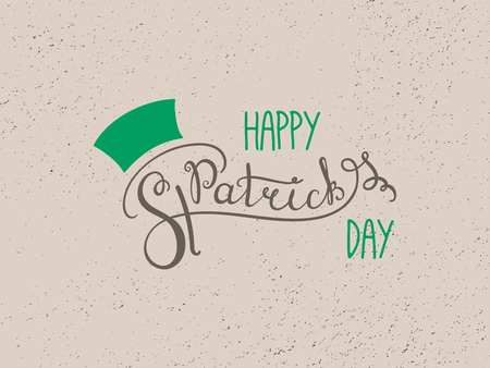 Hand written Happy Saint Patricks day lettering. Isolated objects. Vector illustration. Design concept for greeting card, banner, celebration.
