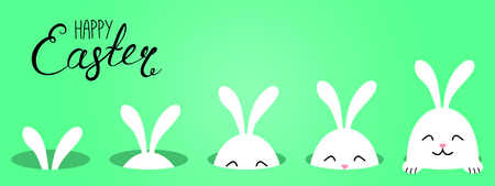 Hand drawn vector illustration with cute cartoon bunny looking from a hole, Happy Easter text. Isolated objects. Vector illustration. Festive design elements. Concept for greeting card, invitation.