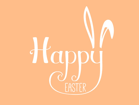 Hand written Happy Easter lettering with cute cartoon rabbit ears. Isolated objects on orange. Vector illustration. Festive design elements. Concept for greeting card, invitation.