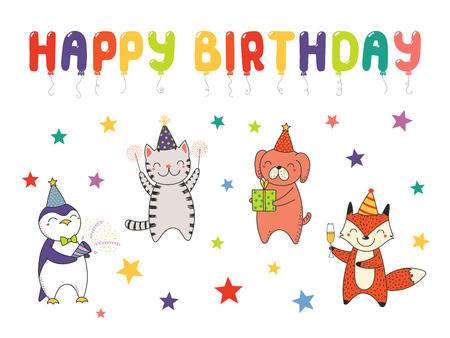 Hand drawn Happy Birthday greeting card, banner template with cute funny cartoon animals celebrating, typography. Isolated objects on white background. Vector illustration. Design concept for party.