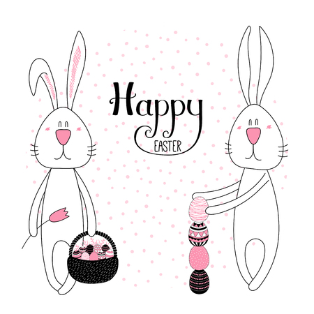 Hand drawn vector illustration of cute cartoon bunnies with eggs, basket, Happy Easter lettering. Isolated objects. Vector illustration. Festive design elements. Concept for card, invitation.