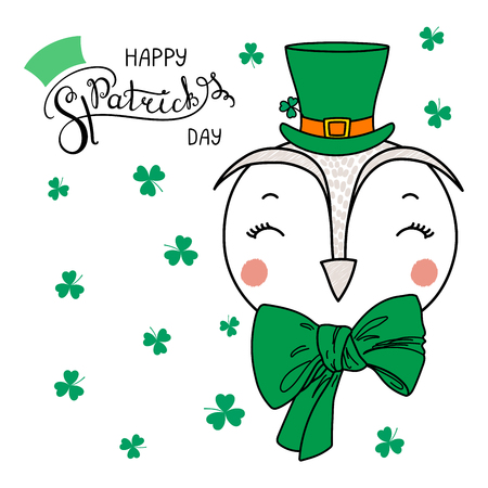 Hand drawn vector portrait of a cute funny owl in a leprechaun top hat, with text Happy Saint Patricks day. Isolated objects on white. Vector illustration. Design concept for children, celebration.