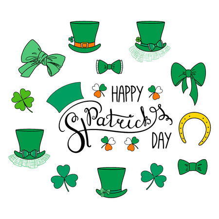Set of hand drawn Saint Patrick's day design elements with lettering, leprechaun hats, shamrocks, four leaf clover, horseshoe, green ribbons . Isolated objects on white background. Vector illustration Vettoriali
