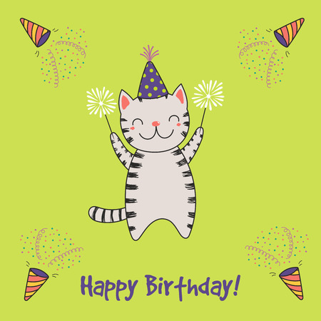 Hand drawn Happy Birthday greeting card with cute funny cartoon cat with sparklers, text. Isolated objects on a background with poppers. Vector illustration. Design concept for party, celebration.