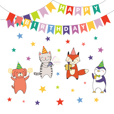 Hand drawn Happy Birthday greeting card, banner template with cute funny cartoon animals celebrating, typography.