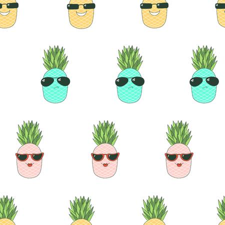 Bergeben Sie gezogenes nahtloses Vektormuster mit den netten lustigen Karikaturananas, die verschiedene Sonnenbrille, auf einem weißen Hintergrund tragen. Konzept des Entwurfes für Kindertextildruck, Tapete, Packpapier. Standard-Bild - 94843063